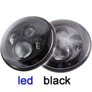 2x-7-034-LED-Headlights-Black-no-Halo-H4-For-Toyota-Landcruiser-HZJ75-75-78-79-seri