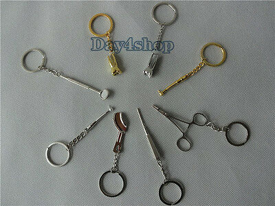 8pcs Assorted Dental Lab Molar Tool Keychain Dentist Great Gift