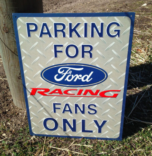 FORD RACING Tin Metal Sign Wall Bar Garage Shop Classic Made in USA