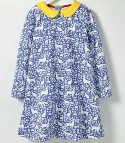 EX-BODEN GIRLS JERSEY COLLAR DRESS BLUE WOODLAND OR STRIPE BNWOT AGES 2-12