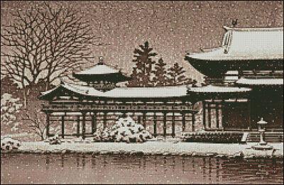 """Goldmilky cross stitch kit /'/'Japanese  Miyajima in Snow/"""" 13x 20 inch c30"""