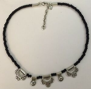 Brighton-Silver-Black-Beads-Necklace-Excellent-With-Tin