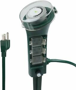 BN-LINK-Outdoor-Yard-Stake-with-Mechanical-Built-In-Timer-6-Grounded-Outlets