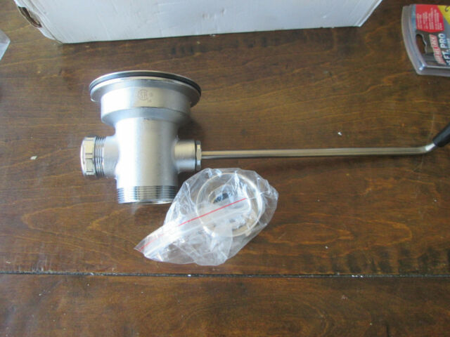 """3/"""" T/&S Brass B-3942 Waste Drain Valve 2/"""" with Capped Outlet Twist Handle"""