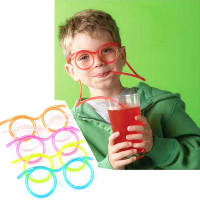 FUNNY COLORFUL SOFT GLASSES STRAW UNIQUE FLEXIBLE DRINKING TUBE KID PARTY GIFT
