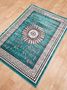 Teal-Silver-New-Short-Soft-Smooth-10mm-Pile-Modern-Design-Rug-Carpet-Small-Large