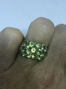 Vintage-Genuine-Peridot-925-Sterling-Silver-Deco-Size-6-Ring