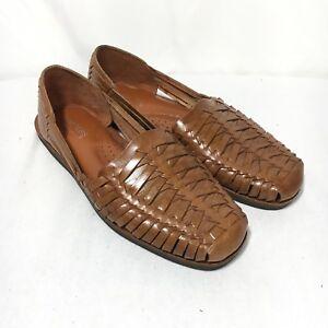 9e9dec7422ec Sunsteps Womens 7 Brown Hand Woven Leather Slip On Loafer Fishermen ...