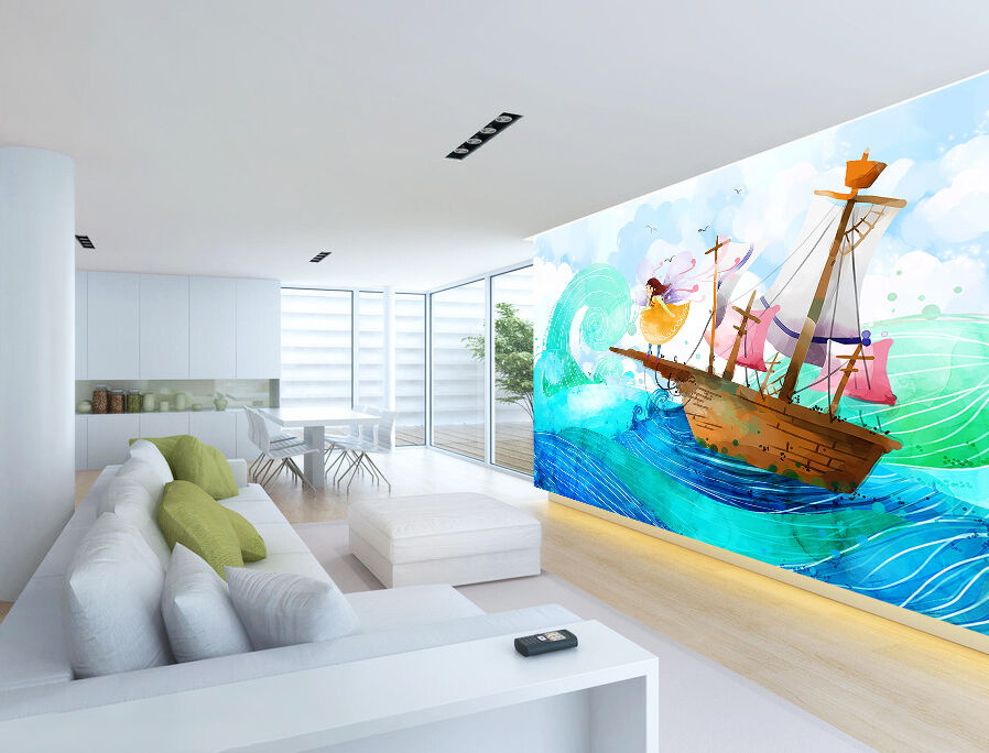 3D girl ocean ship nursery Wall Paper Print Decal Wall Deco Indoor wall Mural