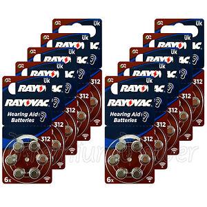 60 x Rayovac Special 312 Size Hearing aid batteries Zinc ...