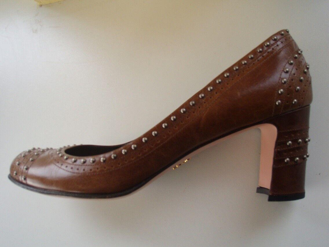 Prada Schuhe Pumps Gr. 39 (38,5) braun mit Nieten