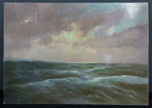 Olgemalde-1-H-20-Jh-Meer-Wellen-Marinemalerei-sig-F-F-C-Christen