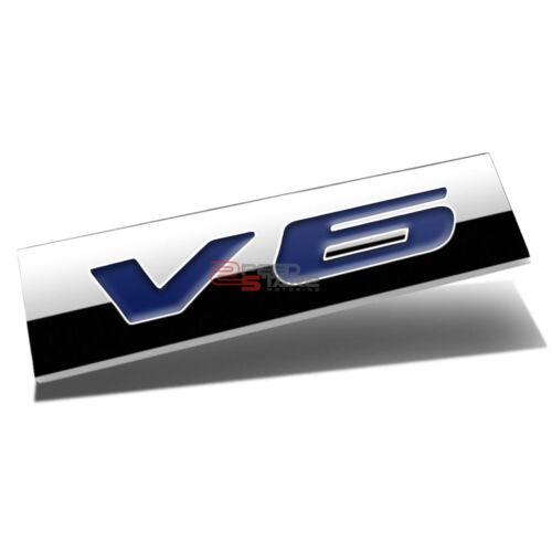 3D POLISHED BLUE LETTERING V6 METAL EMBLEM DECAL LOGO TRIM BADGE 3M ADHESIVE