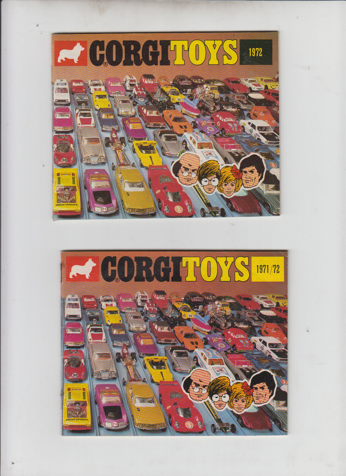Corgi catálogo folleto e 1972 + 1971 72 impecable lista de ventas ilustraciones