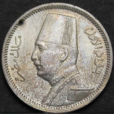 1929bp Egypt 2 Piastres Gem Unc Silver~free Shipping High Standard In Quality And Hygiene Ah-1348
