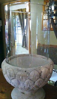 Ivory/Gray Leaf Design Lg Candle Holder- Cement Pedistal Base W/Glass Ring