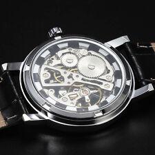 banda de cuero relojes mecánicos esqueleto de los hombres de la marca de lujo