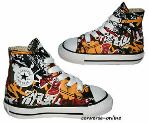 Details about KIDS Toddlers Boys CONVERSE All Star GRAFFITI HIGH TOP Canvas Trainers SIZE UK 4