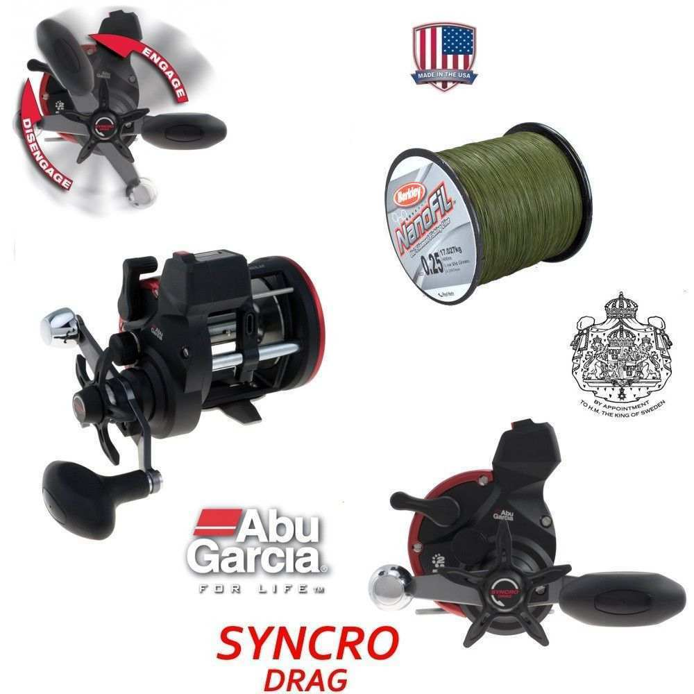 ABU SYNCRO + 600 m Berkley NanoFil 0,25 mm Dunkelgrün