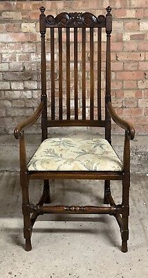 Adroit Beautiful Circa 18th Century William & Mary High Backed Mahogany Arm Chair Antiques Chairs