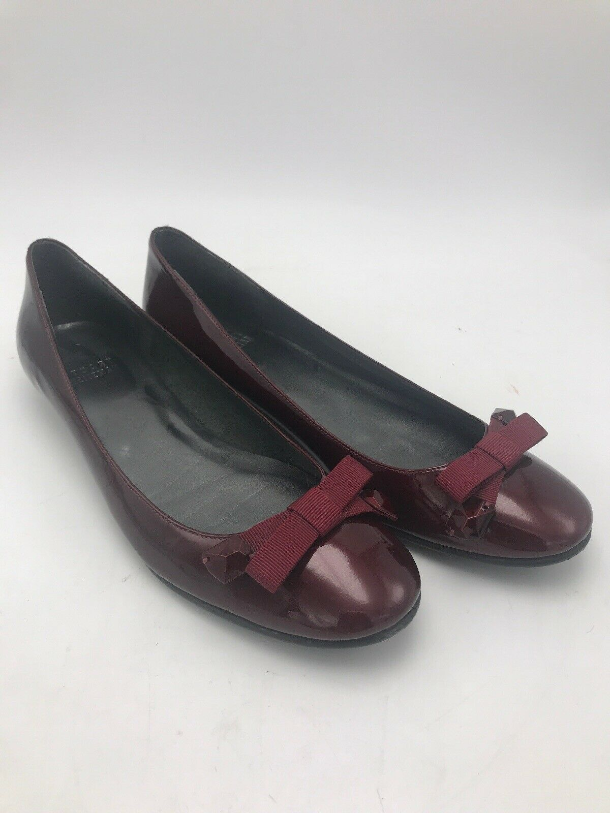 STUART WEITZMAN Bejewel Ruby Red Patent Leather Bow Ballet Flats 6.5M  385