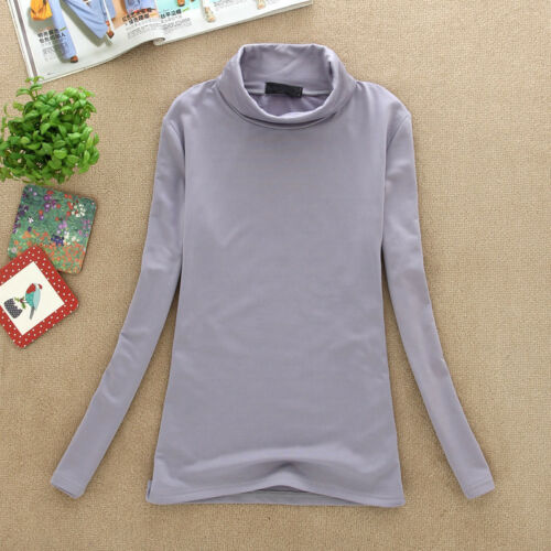 New Women Stretch Long Sleeve Turtleneck T-shirt Shirt Solid Basic Tee Casual