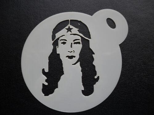 craft /& face painting stencil 60mm wonder w design cake cookie