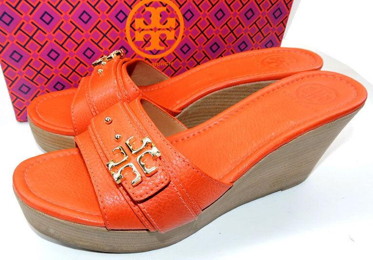 Tory Burch Arancione Eloise  Zoccoli Sandali con Zeppa Basse Scarpe Sabot  marca