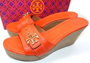 78b6e23fa2c440  255 Tory Burch Orange Eloise Clogs Wedge Sandals Flats Shoe Mules ...