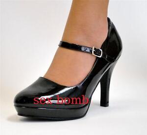 low priced 3f6bc 4d5db Dettagli su SEXY scarpe PIN-UP nere cinturino mini plateau tacco 10 dal 36  al 42 GLAMOUR