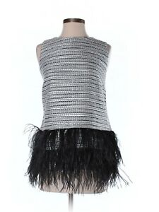 New-Women-Sail-to-Sable-STS-Metallic-Tweed-Top-with-Feathers-Sleeveless-Size-M