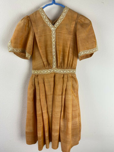 1930s Pleated Dress Girls 8 Orange Short Sleeved C
