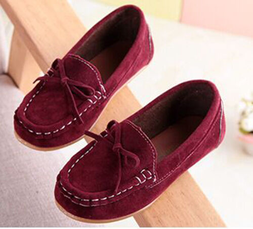 Soft Kids Boy Girl Loafers Ankle Boots Flat Shallow Slip On Boat Shoes Toddler