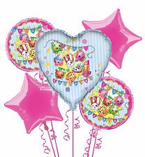 Shopkins Balloon Bouquet Girls Birthday Decorations Party Favor Supplies ~ 5pc