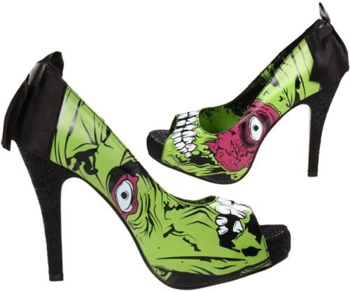 Iron Fist Zombie Stomper Limited Ed Platform Peep Toe Heels Shoes Lime  Size 11