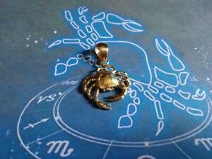 éNergique Cancro Segno Zodiaco Ciondolo In Oro Giallo 18 Kt- Convient Aux Hommes, Femmes Et Enfants