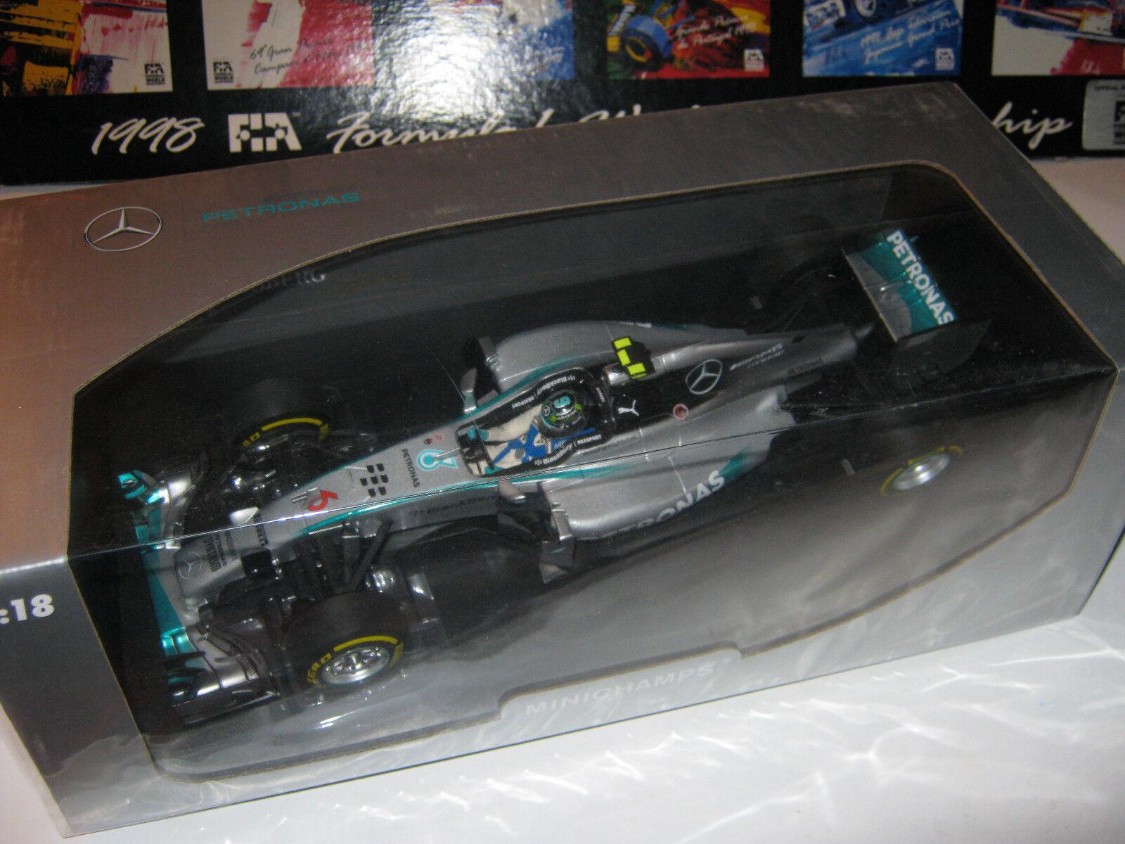 1 18 MERCEDES AMG w05 N. Rosberg Abu Dhabi GP 2014 L. E. MINICHAMPS 110140406 neuf dans sa boîte