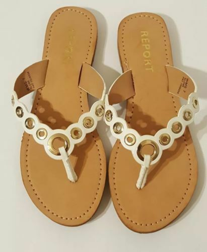 REPORT Womens On 'Slone' WHITE Thong Slip On Womens Sandals - PAT. 7056558 549eff