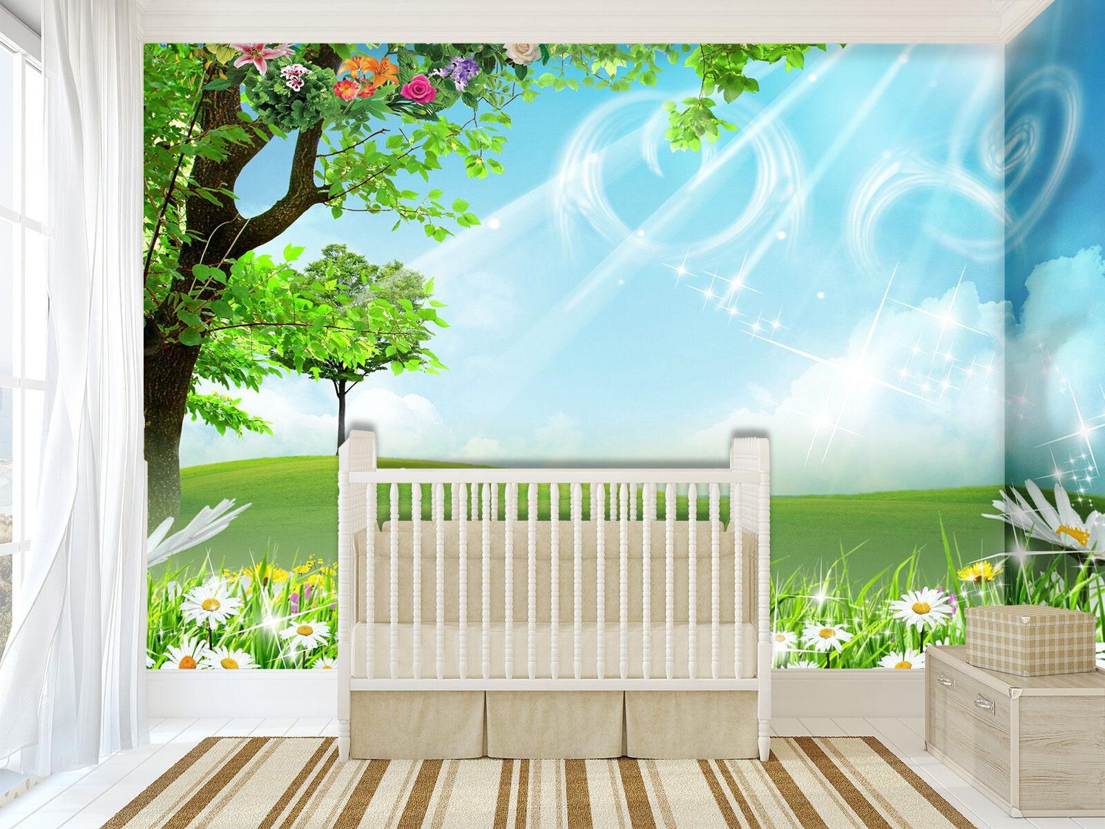 3D greenes Gras, blueer Himmel Fototapeten Wandbild Bild Tapete Familie Kinder