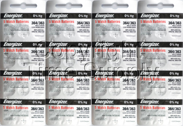 80 pcs 364 / 363 Energizer Watch Batteries SR621SW SR621 0% Hg