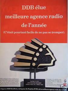PUBLICITE-1991-TROPHEE-IP-RTL-DDB-ELUE-MEILLEURE-AGENCE-RADIO-DE-L-039-ANNEE