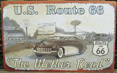 Route 66 The Mother Road TIN SIGN vtg/antique auto pencil art METAL poster OHW-A