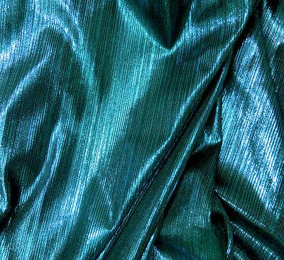 """Turquoise & Black Spandex Stretch Fabric Metallic Stripe Great Body 62""""W"""