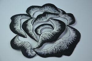 14cm-BLACK-WHITE-FLOWER-ROSE-Embroidered-Sew-Iron-On-Cloth-Patch-Badge-APPLIQUE
