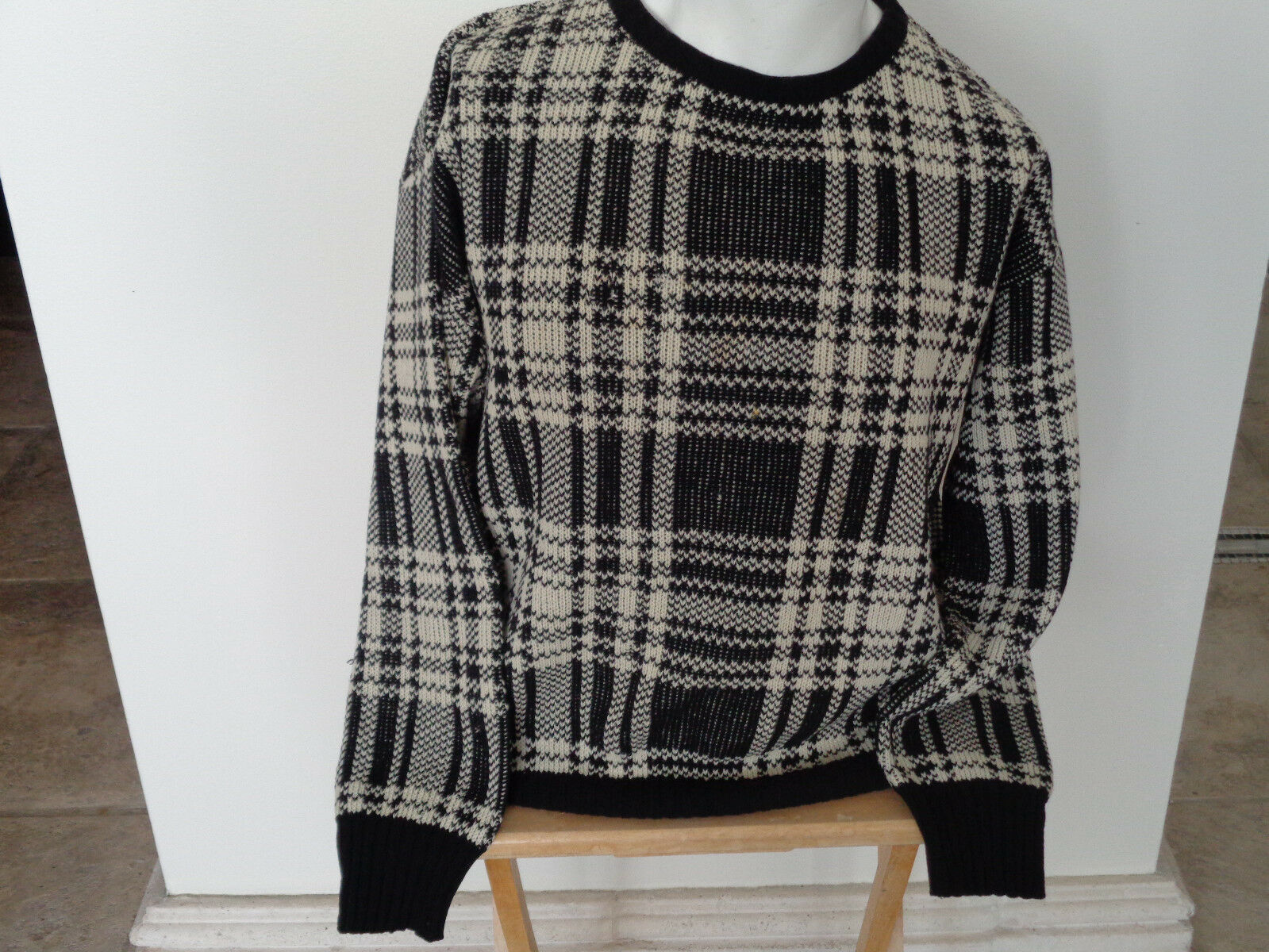 VINTAGE VALENTINO MEDIUM braun / BEIGE PLAID SWEATER MADE IN ITALY SpA PREOWNED