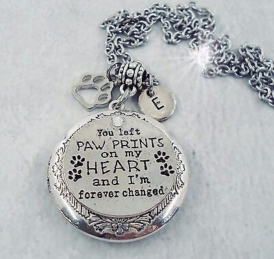 """Cremation Jewellery Ashes Memorial Urn """"You Left Paw Prints On My Heart"""""""