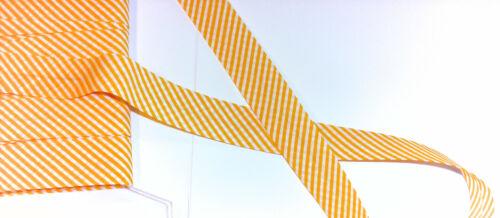 Schrägband Einfassband 1 m gestreift Streifen gelb orange weiß  20//10 Baumwolle