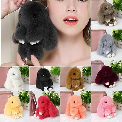 Lot Bunny Rex Rabbit Fur Phone Car Pendant Handbag Girl Key Chain Ring Pom 18cm