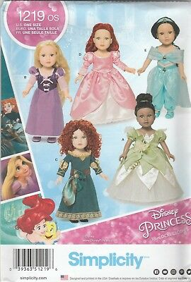 One Size Only Simplicity 1219 Disney Princess 18 Doll Clothes Costume Sewing Patterns