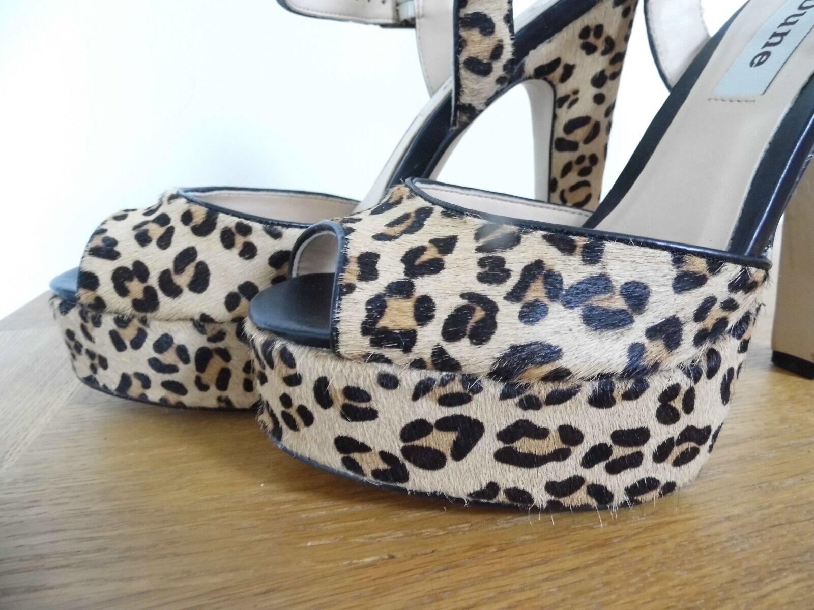 Gorgeous leopard print faux pony pony pony fur Dune high heeled Sandales Größe 4 eb6015